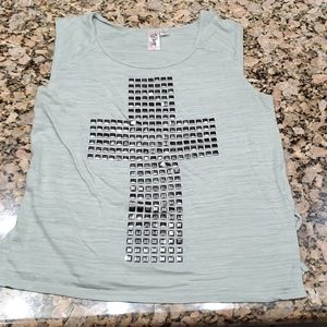 Wide strap Tank top with cross